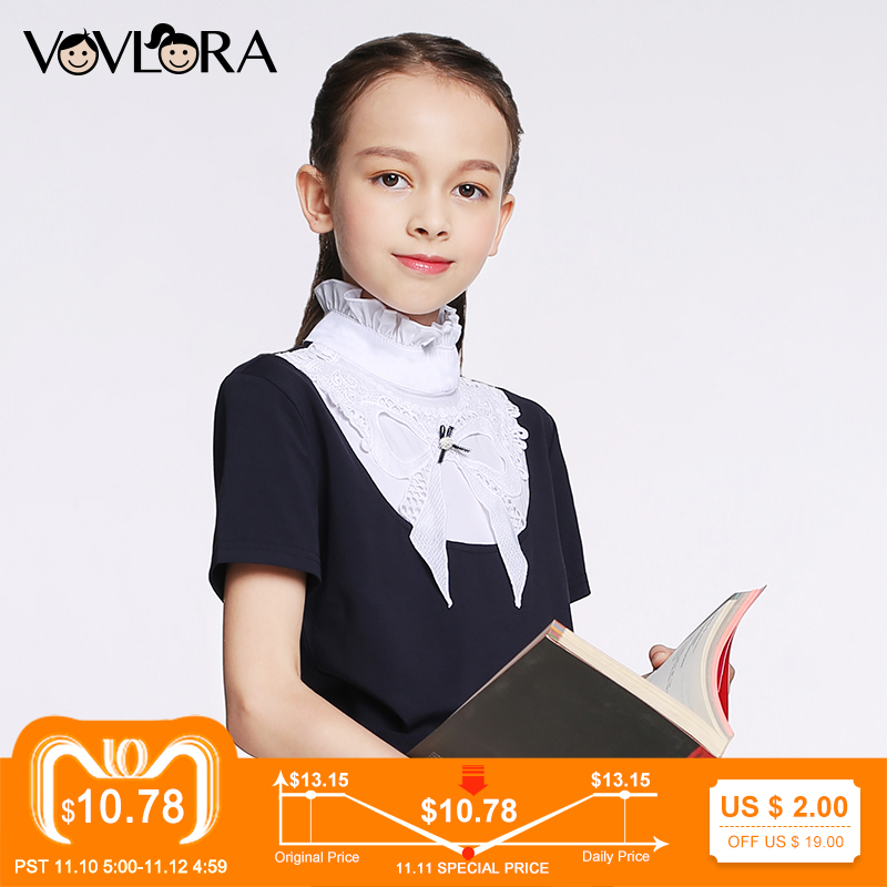 T shirt Girls Tops Ruffled Turtleneck Cotton Kids School T shirt Knitted Short Sleeve Spring 2018 New Size 7 8 9 10 11 12 years asymmetrical plus size flare sleeve tunic t shirt