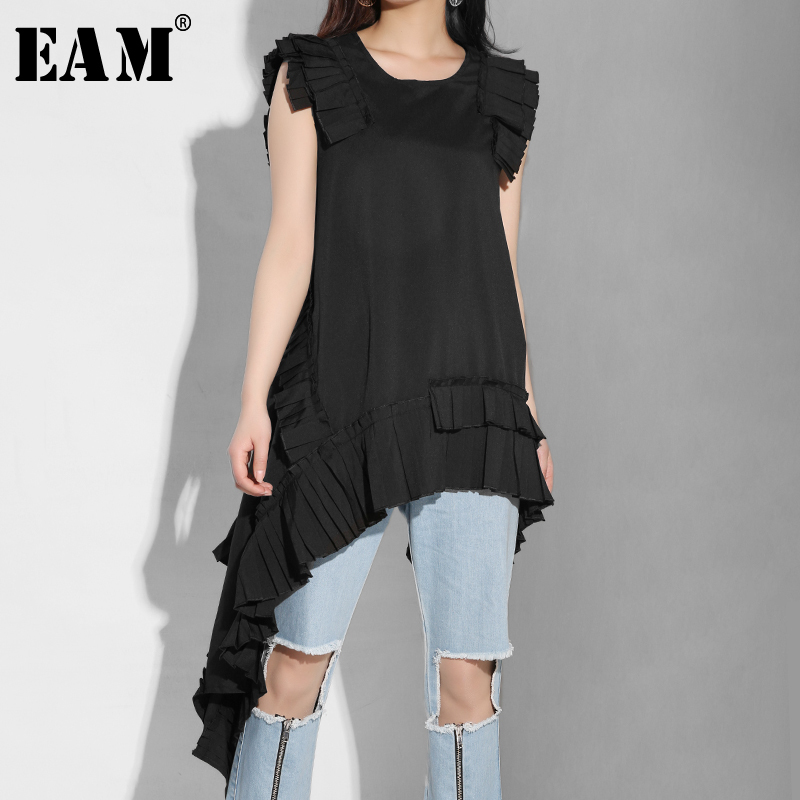 [EAM] 2019 New Spring Summer Round Neck Sleeveless Black Hem Pleated Irregular Cut Style Shirt Women Blouse Fashion Tide LLL32