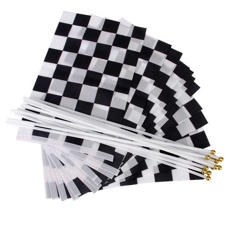 12 pcs. Fluted Formula 1 F1 Racing Banner Hand Waving Flags (Black + White)