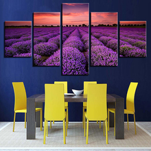 Modern Canvas Posters Decor Framework Wall Art HD Prints Pictures 5 Piece Purple Lavender Fields Sunset Painting For Living Room
