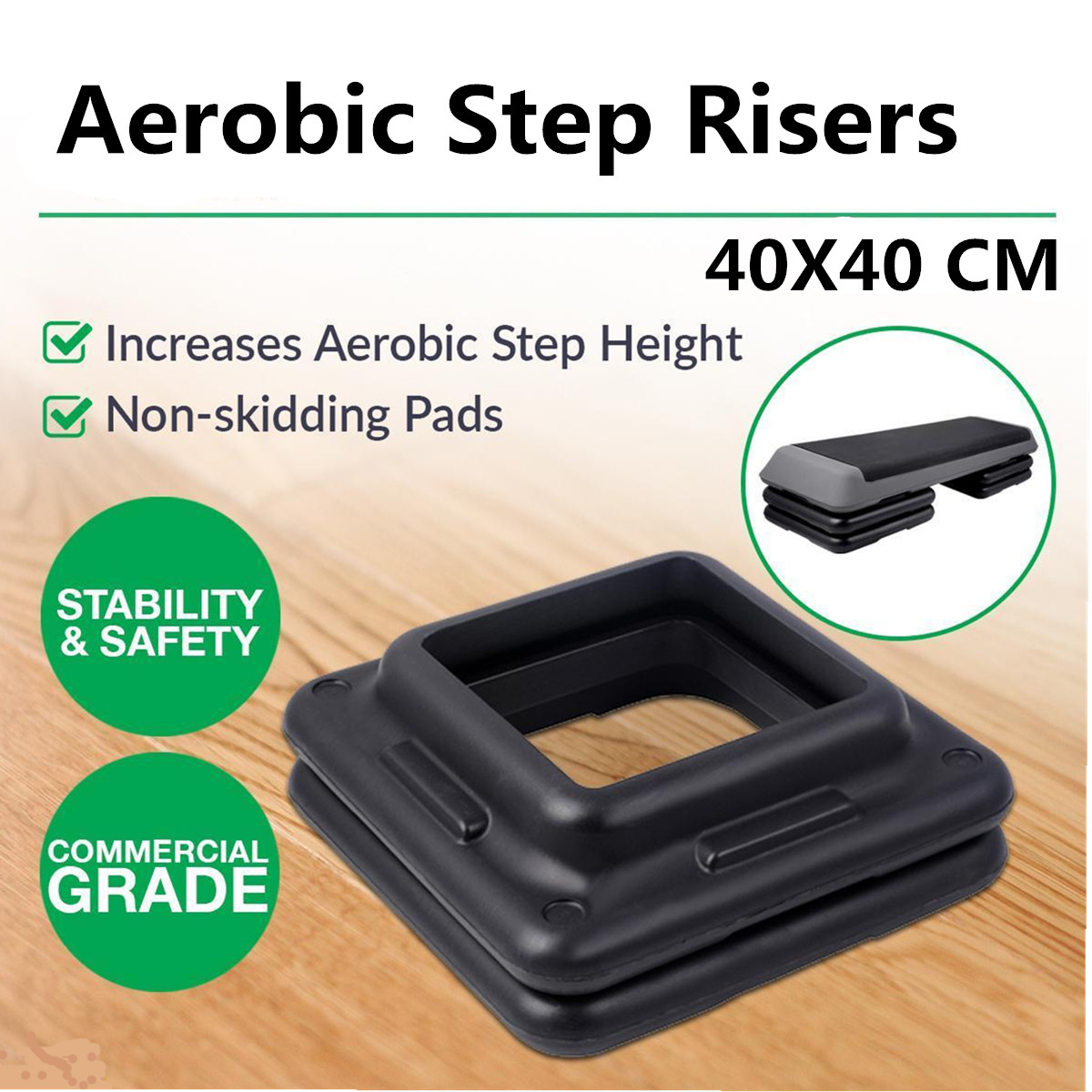 40x40cm Black Aerobic Step Risers Gym Fitness Stepper Workout Exercise Pad Pedal Increase Base Tray Fitness Equipment Accessory