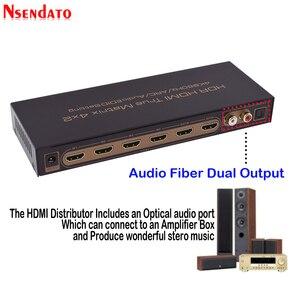 Image 4 - 4k * 2k 60hz hdr hdmi matriz verdadeira 4x2 interruptor do extrator de áudio para dolby arc spdif edid 4 em 2 para fora conversor hdmi switcher splitter