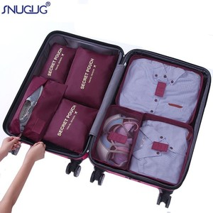 Image 1 - 7pcs/set Luggage Organizer Bag Large Polyester Travel Accessories Waterproof Packing Cubes Organiser For Clothing Storage Bags