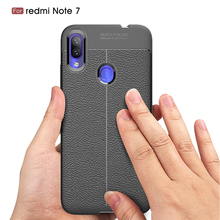 Case On Xiomi Redmi Note 7 Luxury Soft Shockproof Leather Grained TPU Back Cover For Coque Xiaomi Note7 Phone Cases