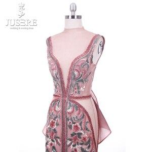 Image 5 - 2018 Jusere Midden oosten Cameo Bruin Top See Through Geborduurde Geappliceerd Avondjurken Split Side Floor Length Prom Gown