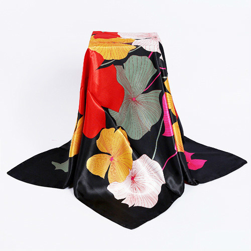 New Design Woman Elegant Silk Scarf90*90cm Square Satin Scarves For Women Head Scarf For Hair Silk Hair Scarf For Sleeping(China)