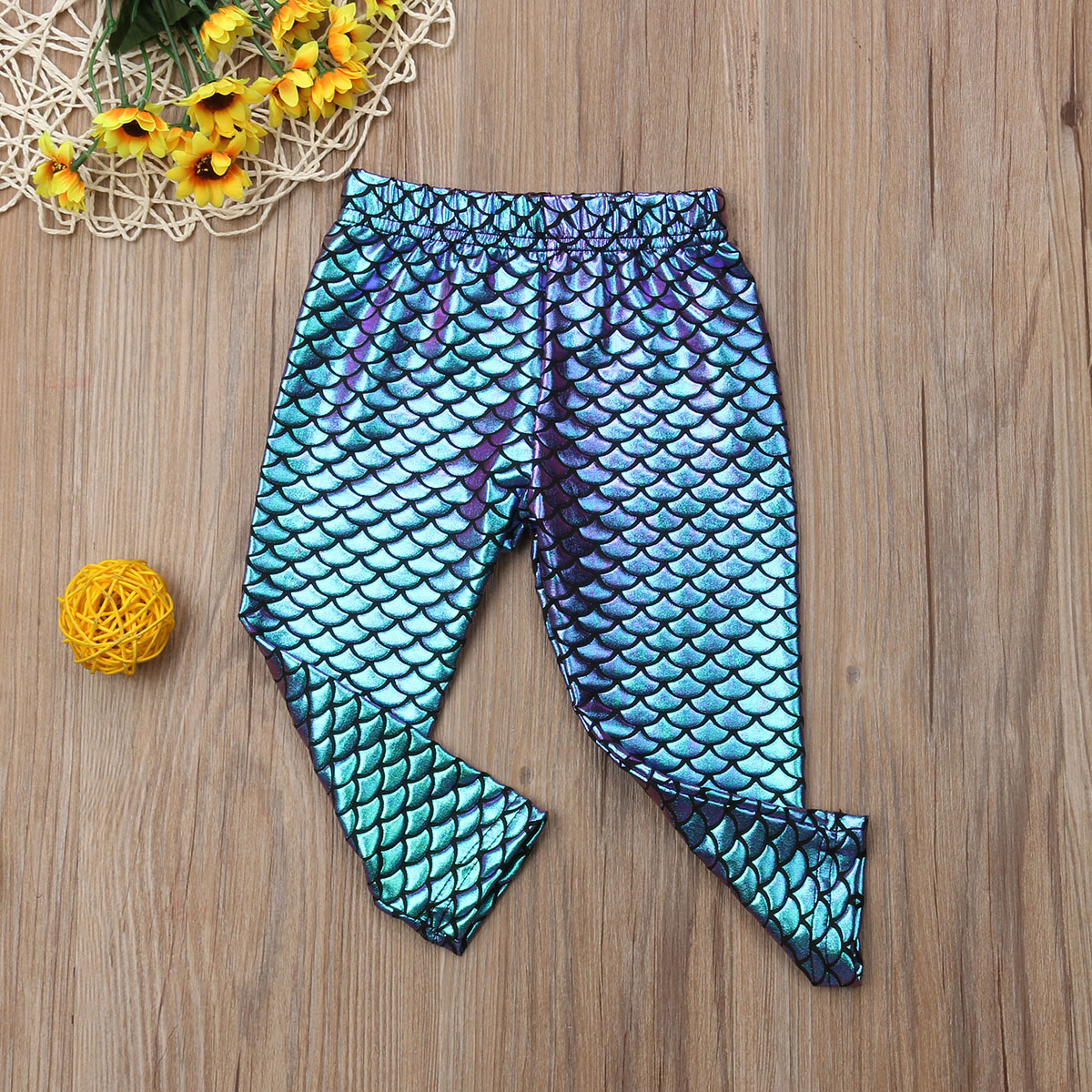 Kid Girl Skinny Mermaid Shiny Fish Scale Leggings Stretchy Pants Pencil Trousers