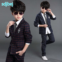 2019 Autumn Baby Plaid Blazers set Jacket+Pant 2 pieces Clothing sets Kids Blazer jackets for Boys Formal dress