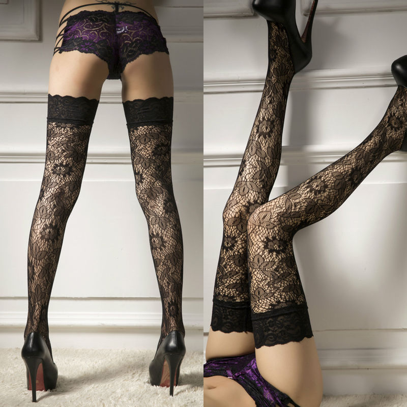 Top Quality Sexy Women Ladies Sheer Lace Top Stay Up Thigh-High Floral Hollow Stockings