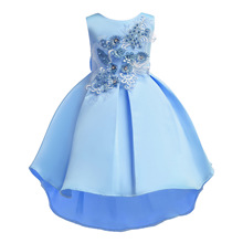 2019 Vintage Flower Summer Girls Dresses Kids Party  Princess Dress Baby Girl Wedding Dress Appliques Big Bow Ball Gown Dress high quality lace girl dresses children flower princess dress big girl ball gown baby kids wedding costume birthday vestidos