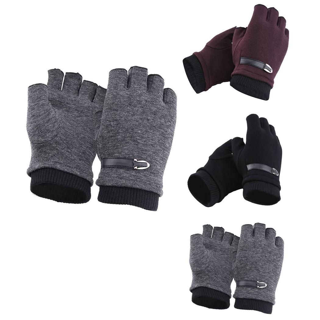 26047232b76e3 Women Men Winter Gloves Fleece Warm Stretch Half Finger Gloves Unisex  Couple Fingerless Mittens Outdoor Bicycle