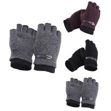 Kobiety mężczyźni zimowe rękawiczki polarowe ciepłe Stretch pół palcowe rękawiczki Unisex para rękawiczki bez palców rower do jazdy na świeżym powietrzu rękawiczki do jazdy tanie tanio Lanshifei Poliester Kaszmiru Dla dorosłych Moda Nadgarstek Stałe winter gloves Black Gray Wine Red M L XL