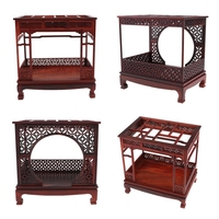 1/12 Dollhouse Miniature Furniture Wooden Canopy Bed & Chinese Moon Gate Bed Model Festivai Xmas Gifts Handcraft