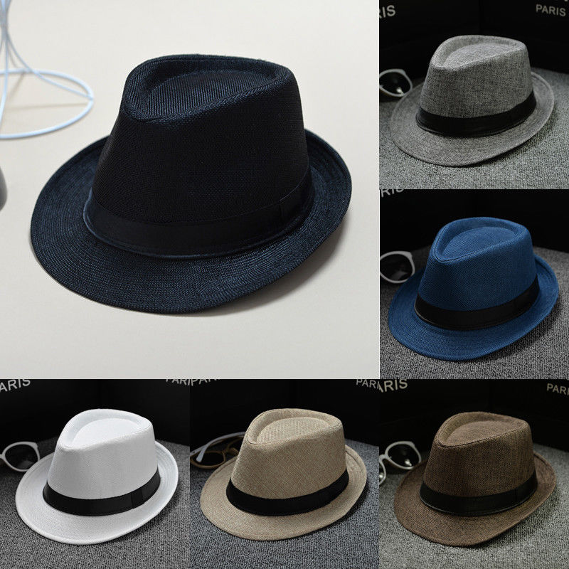 04e8791f0e54c2 New Unisex Straw Fedora Cotton and linen fabric Panama solid color hat  trillby hat sun hat