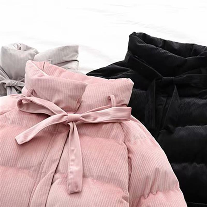 Court pink Veste Col En Coat Avec Coat Doux Manteau Côtelé Hiver Coat Longues Coton Chaud gray Bow Velours À Pardessus Femmes Tie Black Manches pwXZ6Bxnq8