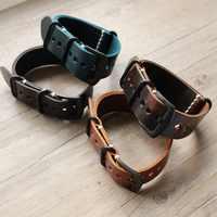 2019 nowy projekt Vintage pasek do zegarka z prawdziwej skóry Nato skórzany mężczyzna paski do zegarków więcej kolorów i rozmiarów 20mm 22mm 24mm na markowy pasek