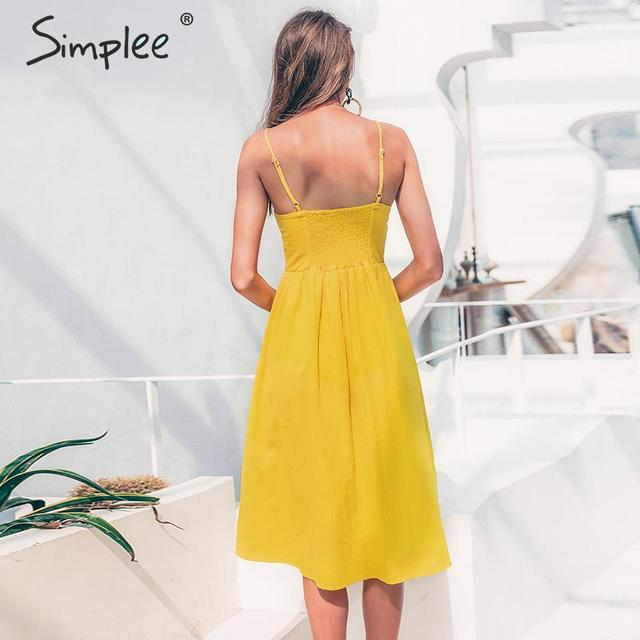 Simplee Elegant button women dress Pocket polka dots yellow cotton midi dress Summer casual female plus size lady beach vestidos 1
