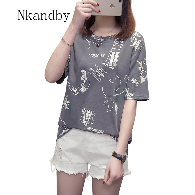Nkandby Plus Size Print Tshirt For Women 2019 Summer Casual Loose Half Sleeve Maiden T-shirts 4XL 3XL Oversized Youth T Shirt