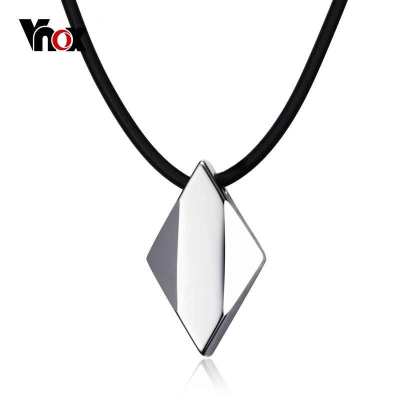 "Vnox Not Ccratch Pure Tungsten Carbide Rhombus Necklaces Pendants 18"" Rope Chain"