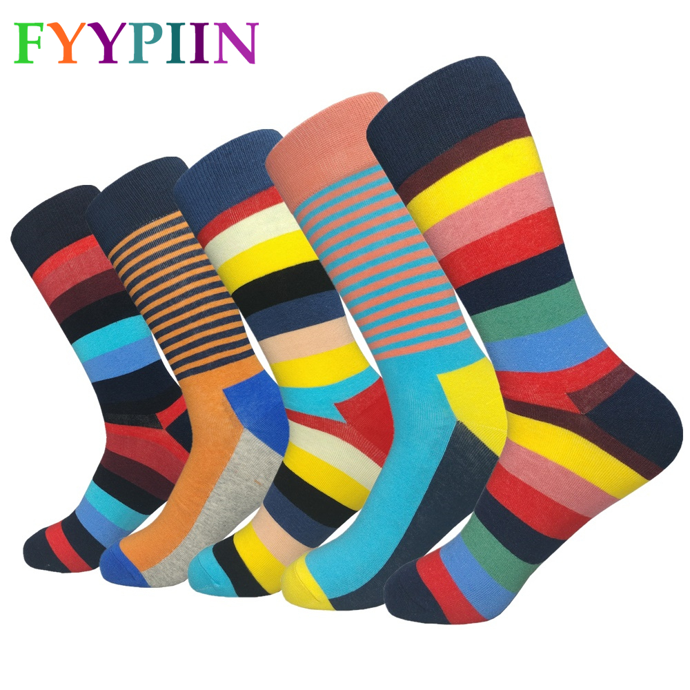 2020 Rushed Promotion Cotton Socks Men's High Quality Plus Longer Fashion The Latest Design Striped Happy Socks Men
