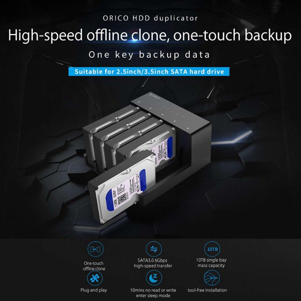 Orico 6558Us3-C 5 baie Super vitesse Usb 3.0 HDD Station d'accueil sans outil USB 3.0 vers SATA boîtier de boîtier de disque dur adaptateur - 6