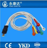 Compatible Schiller MT 101 ECG Holter cable, 6leads,IEC, Snap