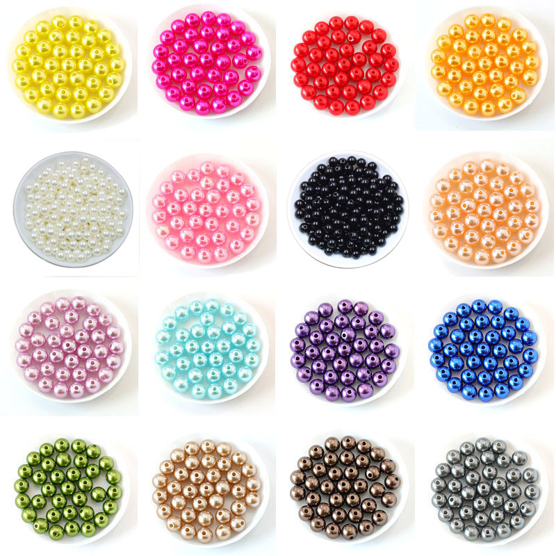 50-400Pcs/bag With Hole ABS Imitation Pearl Bead 4/6/8/10/12MM Round Plastic Acrylic Spacer Bead for DIY Jewelry Making Findings
