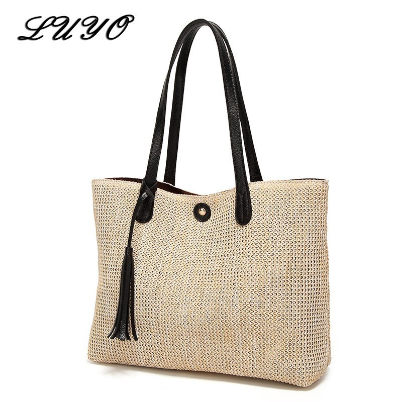 2018 New Pattern Weave Woman Fashion Beach Crochet Straw Shoulder Handbags Summer Bag Women Basket Neutral Female Handbag Woven handbag