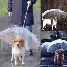 Pies chodzenie wodoodporny przezroczysty pokrowiec wbudowany smycz deszcz Sleet Snow Pet parasol produkty dla zwierzaka domowego nowość