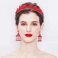 Шаблон Ретро Свадебный комплект ювелирных изделий модные красные со стразами и жемчугом свадебная корона набор подвеска и сережки