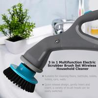3 in 1 Electric Scrubber Brush Set Rechargable Cordless Hurricane Muscle Scrubber Drill Wireless Household Cleaning Tools