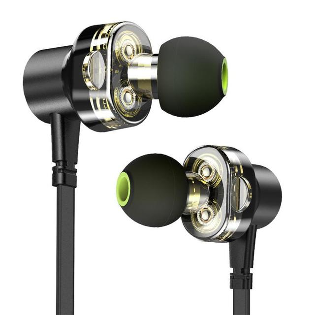 Portable Earphones Dual Moving In-Ear Earbud 3D Stereo Hd Sound Surround Silicone Devices With Mic Hands-free Calls Wire Control