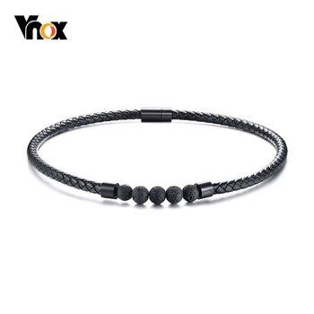5272cb19524a Vnox negro genuino collar de gargantilla de cuero para los hombres de  piedra de Lava Cierre magnético de energía hombre joyería