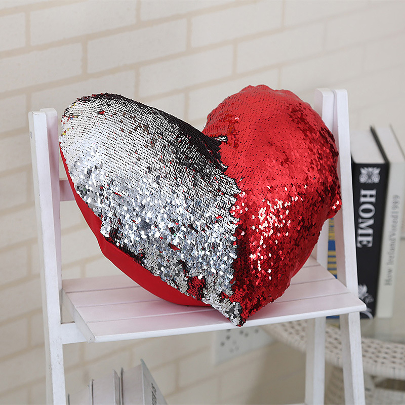 Heart Shaped Cushion Cover Reversible Sequins Mermaid Pillow Magical Color Changing Glitter Throw Case Home Decor