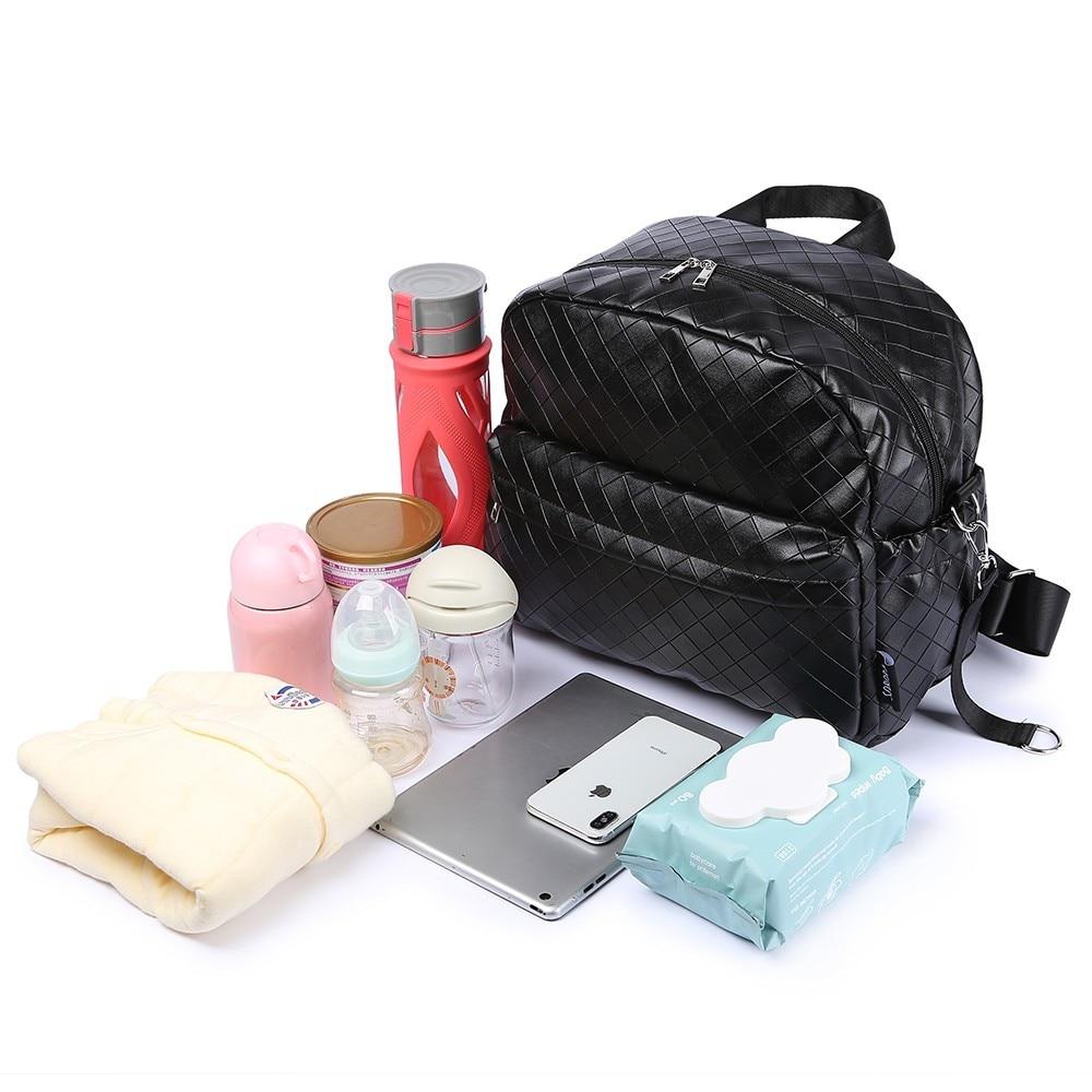 Soboba Black Plaid Large Capacity Diaper Bag Stylish Travelling Baby Stroller Bag Brief Maternity Backpack Fashionable Mommy Bag (Black)