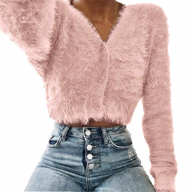 Detail Feedback Questions about Womens Baggy Fluffy Faux Fur Sweater V neck  Long Sleeeve Winter Warm Jumper Sweaters Ladies Solid Color Outwear Knitwear  ... e42c27b04