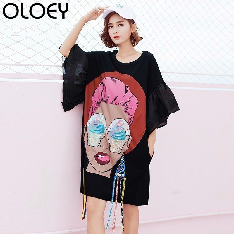 2018 Summer Girl Head Cartoon Sequins Print Flare Sleeve Tassel Irregular T  Shirt Dresses plus size woman dress vestido S030 -in Dresses from Women s  ... 903bdddc4a15