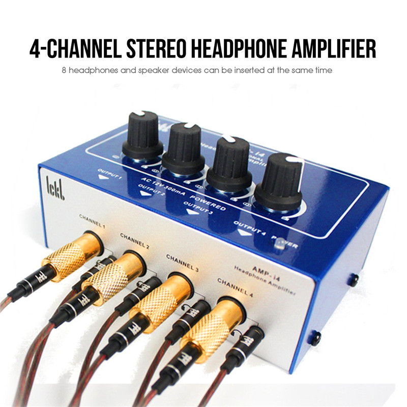 Professional Mini 4 Channels Headphone Amplifier AMPI4 Ultra-compact Earphone Audio Stereo Amp Mixer With Power Adapter