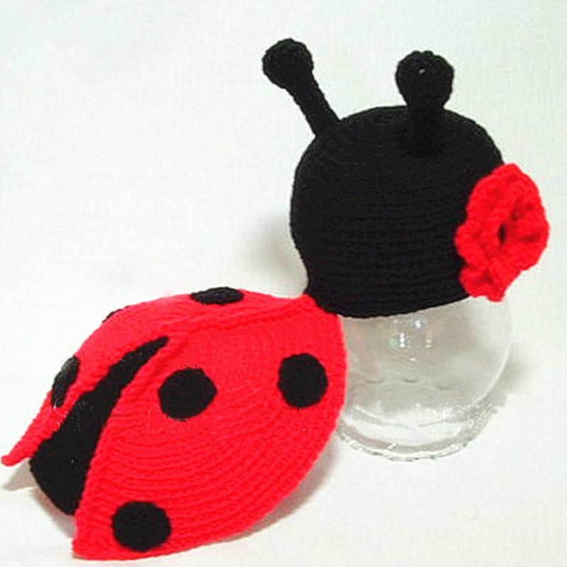Newborn Baby Photography Props Accessories Cute Baby Ladybug Handmade Crochet Clothing Knitted Ladybird Photo Props Baby Hat Cap