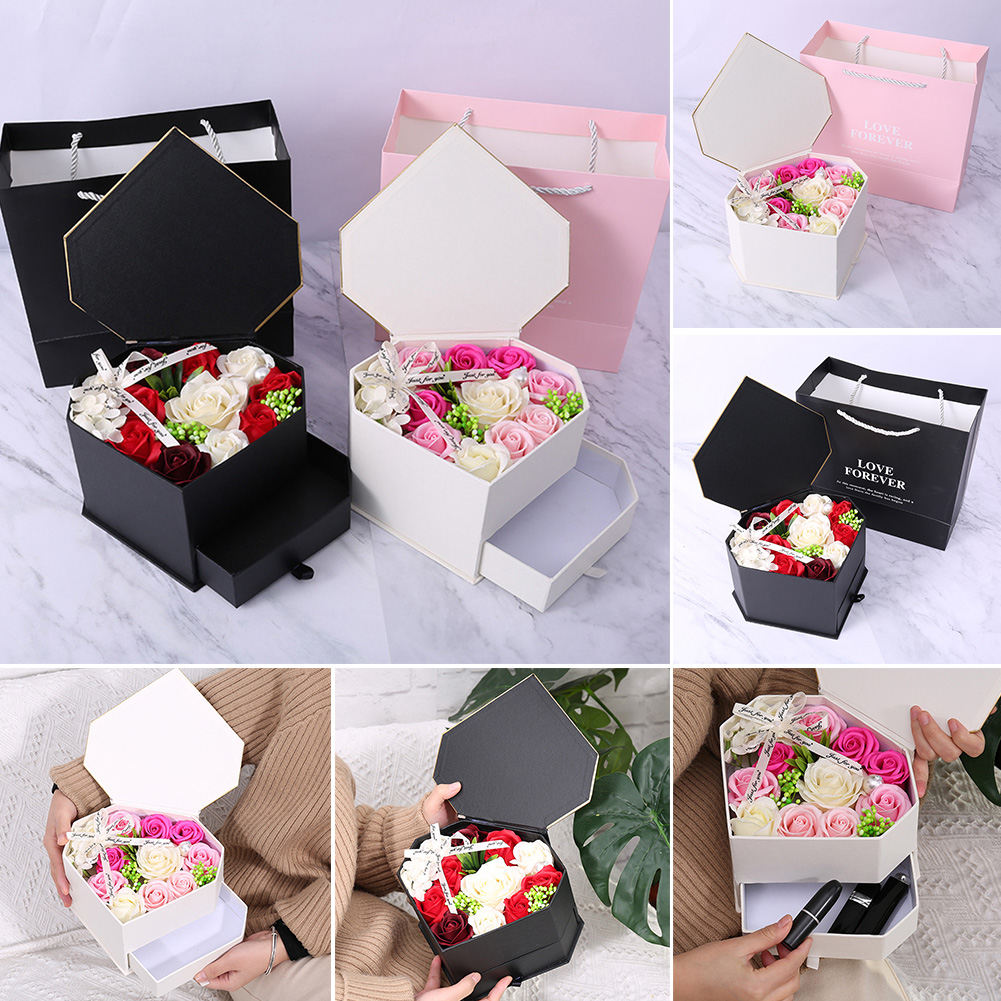 Valentine's Day Soap Flower Decoration Double Drawer Bath Heart Rose Party Girlfriend Petal Wedding Romantic Gift Box Body