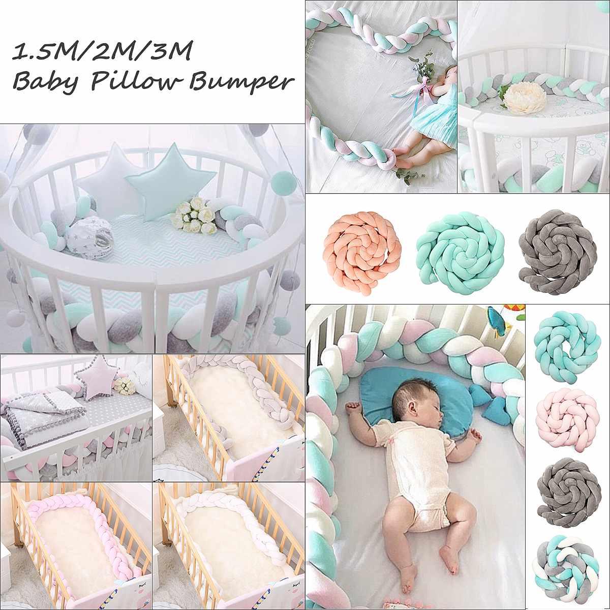 3 mètres nouveau-né infantile bébé pare-chocs lit coussin doux tressé Long noeud boule oreiller berceau protecteur bébé chambre lit pare-chocs de sécurité