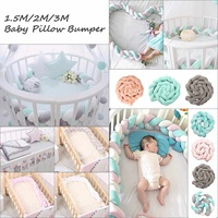 3Meter Newborn Infant Baby Bumper Bed Cushion Soft Braided Long Knot Ball Pillow Crib Protector Baby Room Cot Safety Bumpers