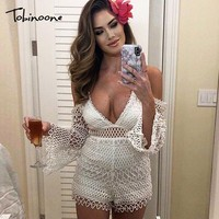 Tobinoone Sexy lace jumpsuit romper Women deep v neck hollow out overalls Summer 2019 long flare sleeve white playsuit clubwear