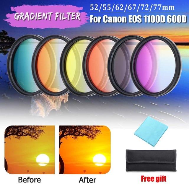 8 stücke 52 MM 55 MM 58 MM 62 MM 67 MM 72 MM 77 MM Kamera Filter Circo Spiegel objektiv Gradienten UV Filter Für Canon EOS 1100D 600D