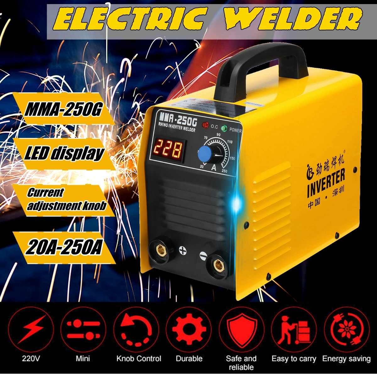 20-250A 25KVA IP21 Inverter Arc Electric Welding Machine IGBT/MMA/ARC/ZX7 Welder For Welding Electric Working Digital Display