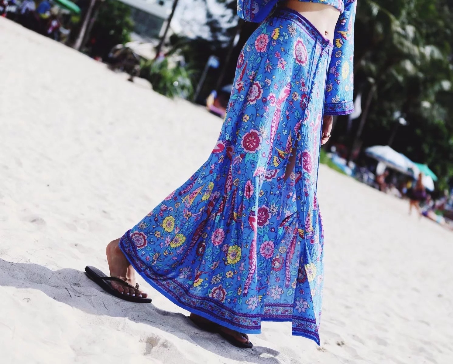 Floral Printed Boho Long Women Skirt 2019 Hot High Waist Beach Maxi Holiday Chic Woman Skirts Fashion Tassel A Line Female Saia in Skirts from Women 39 s Clothing