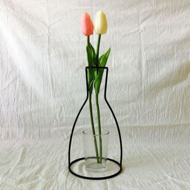 New Style Home Party Decoration Retro Iron Line Flowers Vase Metal Plant Holder Modern Solid Home Decor Nordic Styles Iron Vase 5