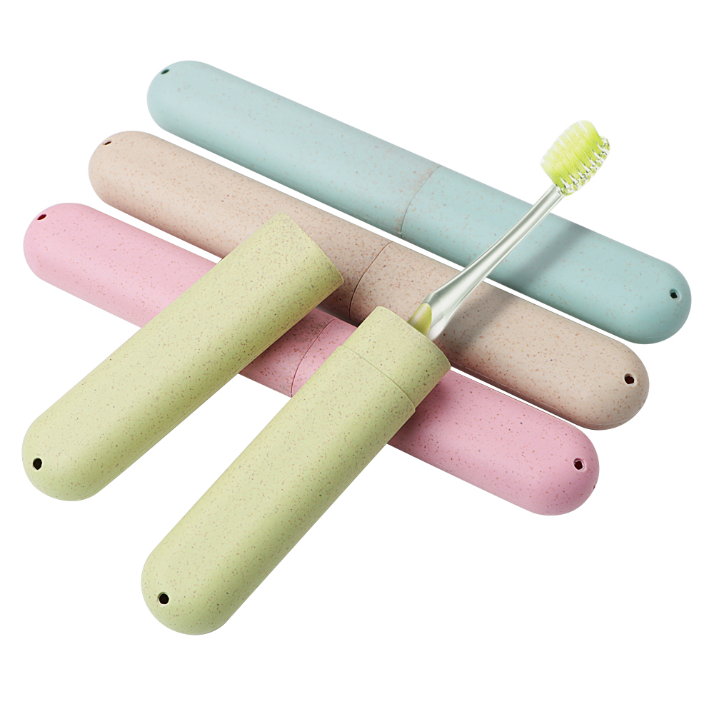 Health Tooth Brushes Protector Toothbrush Tube Cover Case 1pc Dustproof Wheat Straw Portable Travel Toothbrush Box image