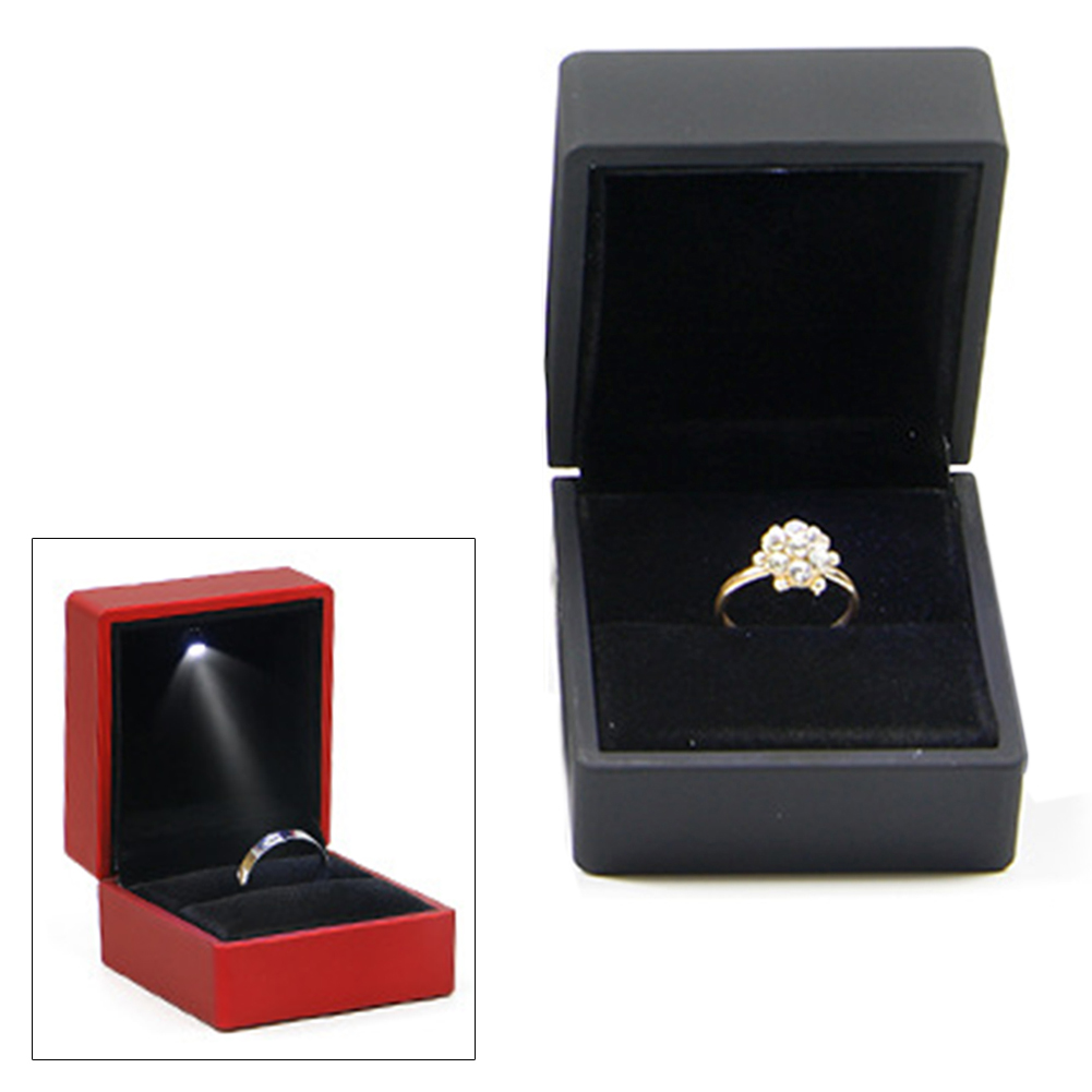 Earring Packaging Ring Box Storage Decoration With LED Lighted Gift Organizer Jewelry Display Wedding Propose For Engagement