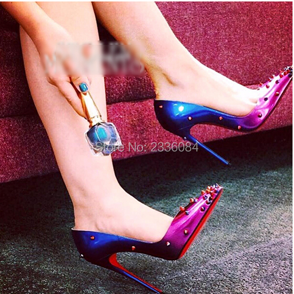 23a550e817b45a Red Bottom Wedding Shoes Rivets Studded High Heels Women Red Sole Pumps  Spikes Pointed Toe Stiletto Heels Dress Party Pumps